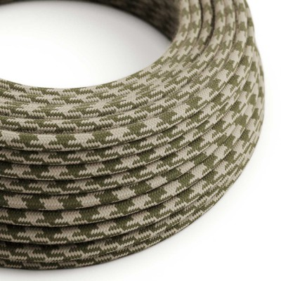 Fil Électrique Rond Gaine De Tissu De Couleur Coton - Bicolore Vert Thym et Tourterelle RP30