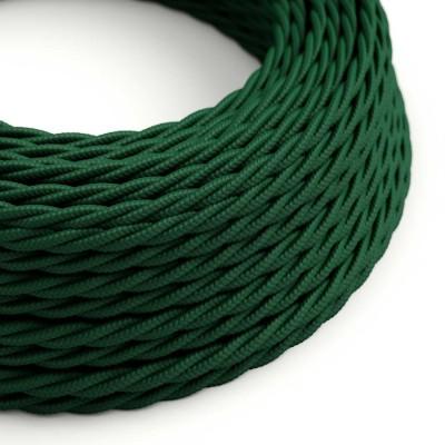 Elektrisches Kabel geflochten überzogen mit Textil-Seideneffekt Einfarbig Tannengrün TM21