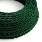 Cavo Elettrico trecciato rivestito in tessuto effetto Seta Tinta Unita Verde Scuro TM21