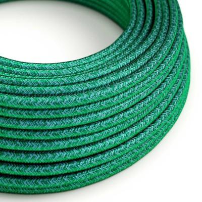 Elektrisches Kabel rund überzogen mit Seideneffekt Smaragd Dunkelgrün RM33
