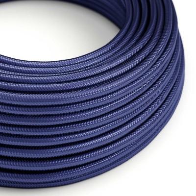 Elektrisches Kabel rund überzogen mit Seideneffekt Saphir Blau RM34