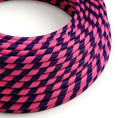 Rundes, Vertigo-Textilkabel mit HD Effekt mit pink-lila Streifen ERM41