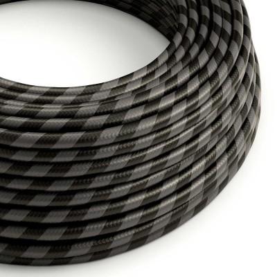 Câble Vertigo rond HD avec tissage classique à grosses rayures Noires et Graphites ERM54