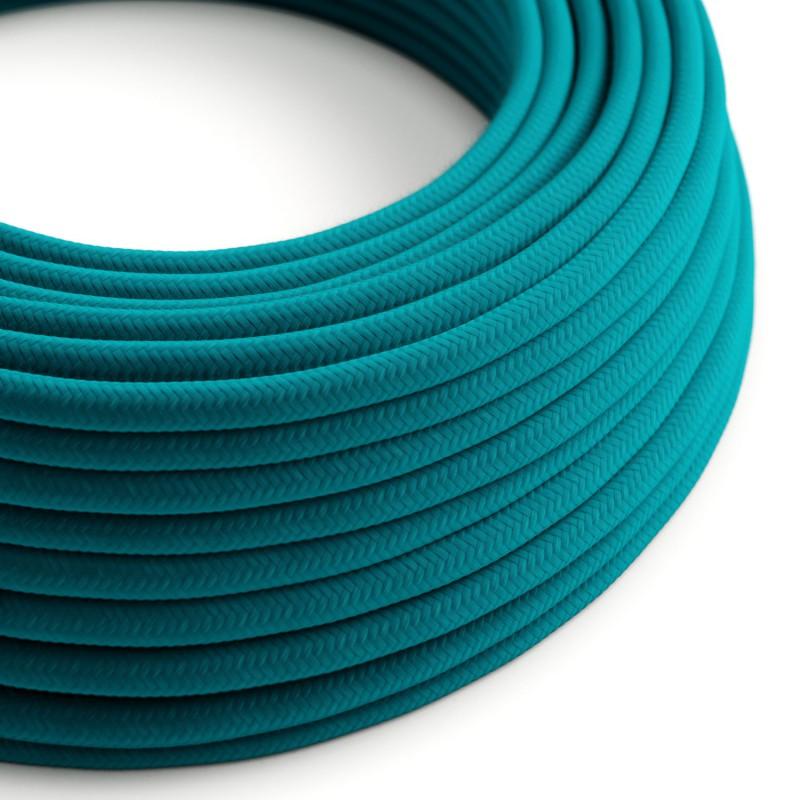 Câble électrique rond en coton de couleur unie bleu céruléen RC21