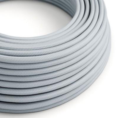 Cavo Elettrico rotondo rivestito in tessuto effetto Seta Tinta Unita Grigio Azzurro RM30