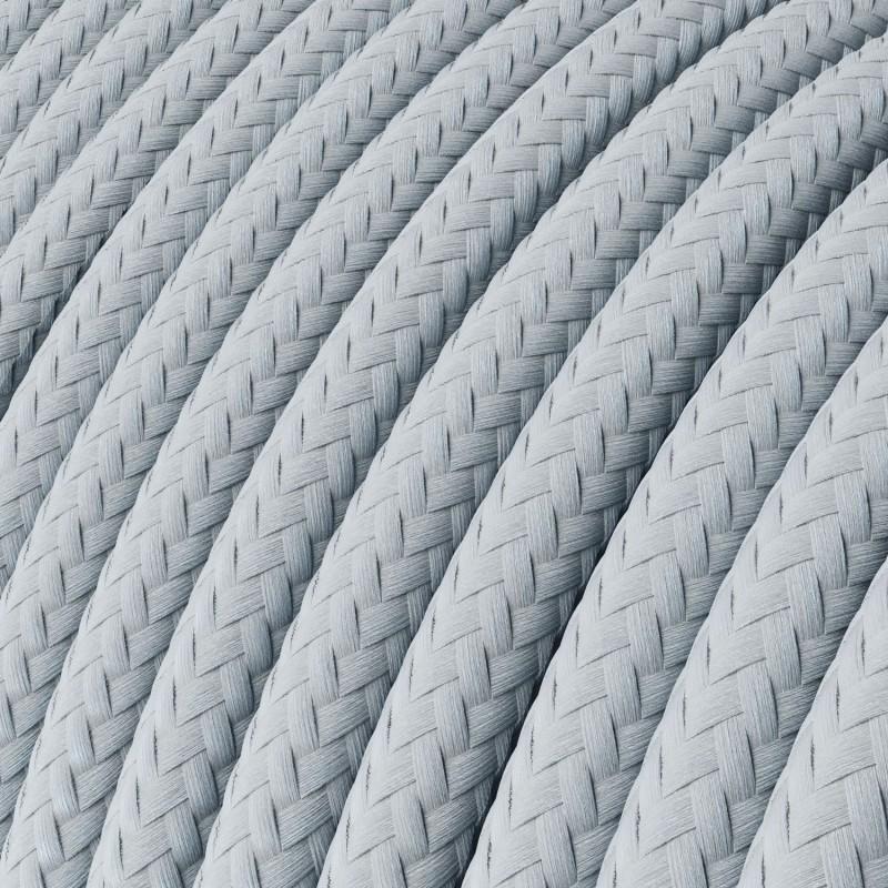 Câble électrique rond effet soie de couleur unie bleu gris clair RM30