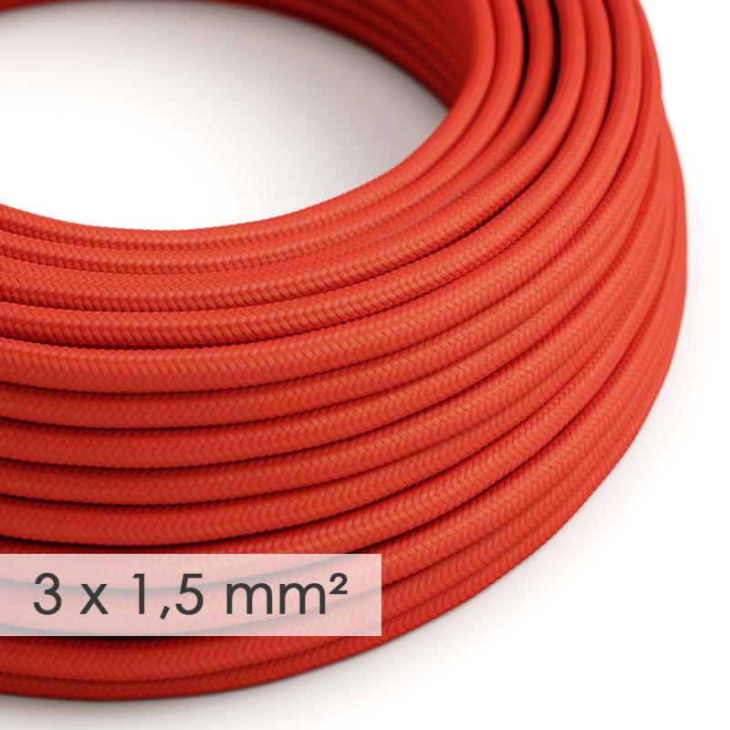 Fil Électrique De Large Section 3x1,50 Rond - Tissu Effet Soie Rouge RM09