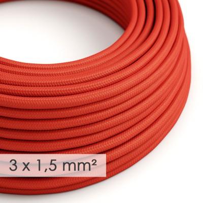 Textilkabel rund mit breitem Querschnitt 3x1,50 - Seideneffekt Rot RM09
