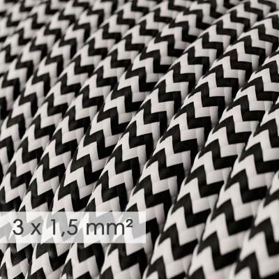 Cavo elettrico a larga sezione 3x1,50 rotondo - tessuto effetto seta Nero ZigZag RZ04