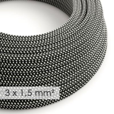 Textilkabel rund mit breitem Querschnitt 3x1,50 - Seideneffekt 3D Sternmuster-Hervorhebung RT41