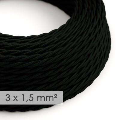 Textilkabel geflochten mit breitem Querschnitt 3x1,50 - Seideneffekt Schwarz TM04
