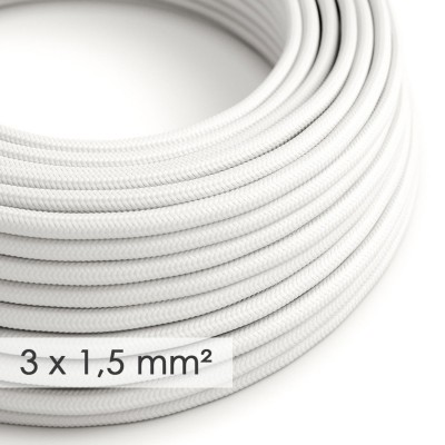 Cavo elettrico a larga sezione 3x1,50 rotondo - tessuto effetto seta Bianco RM01
