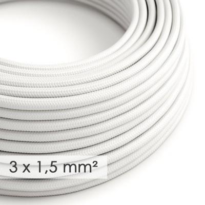 Textilkabel rund mit breitem Querschnitt 3x1,50 - Seideneffekt Weiß RM01