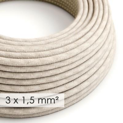 Textilkabel rund mit breitem Querschnitt 3x1,50 - Natürliches Leinen Neutral RN01