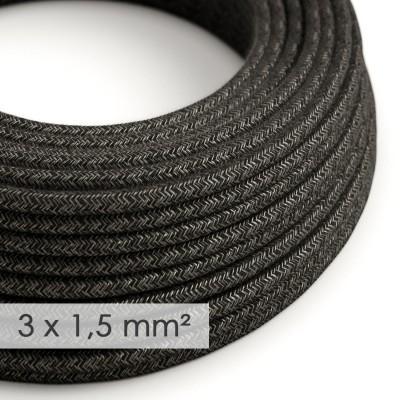 Textilkabel rund mit breitem Querschnitt 3x1,50 - Natürliches Leinen Anthrazit RN03