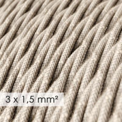 Fil Électrique De Large Section 3x1,50 Torsadé - Lin Naturel Neutre TN01