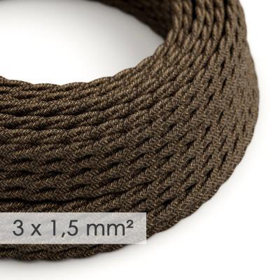 Textilkabel geflochten mit breitem Querschnitt 3x1,50 - Natürliches Leinen Braun TN04
