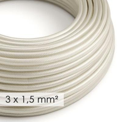 Textilkabel rund mit breitem Querschnitt 3x1,50 - Seideneffekt Elfenbein RM00