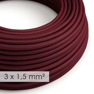 Fil Électrique De Large Section 3x1,50 Rond - Tissu Effet Soie Bordeaux RM19