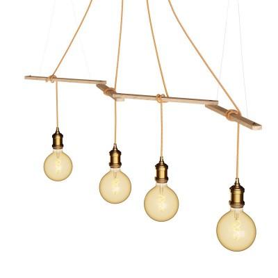 Zigh-Zagh, supporto a soffitto regolabile in legno per lampade a sospensione