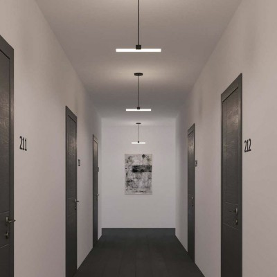 Lampada a sospensione con cavo tessile, portalampada S14d Syntax® e finiture in metallo - Made in Italy