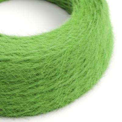 Cavo elettrico trecciato Marlene rivestito in tessuto effetto Peloso Tinta Unita Verde TP06