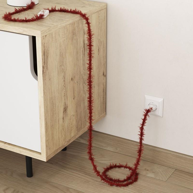 Câble électrique Torsadé Marlene recouvert de tissu aspect Fourrure Rouge Uni TP09