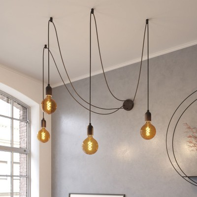 Spider mural - Lampe à suspension multiple à 4 bras Made in Italy avec câble textile et finitions en bois