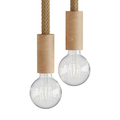 Lampe à suspension multiple à 2 bras avec cordon 2XL et finitions en bois