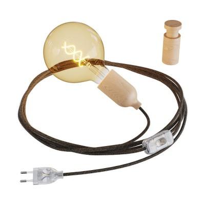 Snake, câblage avec douille en bois, fiche et interrupteur avec passe-câble en bois Rolé