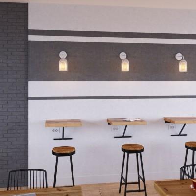 Fermaluce Metal con paralume Ghostbell, lampada a muro in metallo con estensione curva