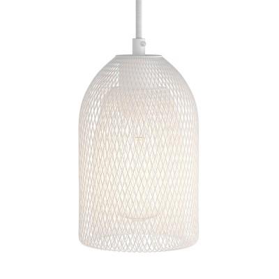 Pendelleuchte mit Textilkabel, Ghostbell Lampenschirmkäfig und Metall-Zubehör - Hergestellt in Italien