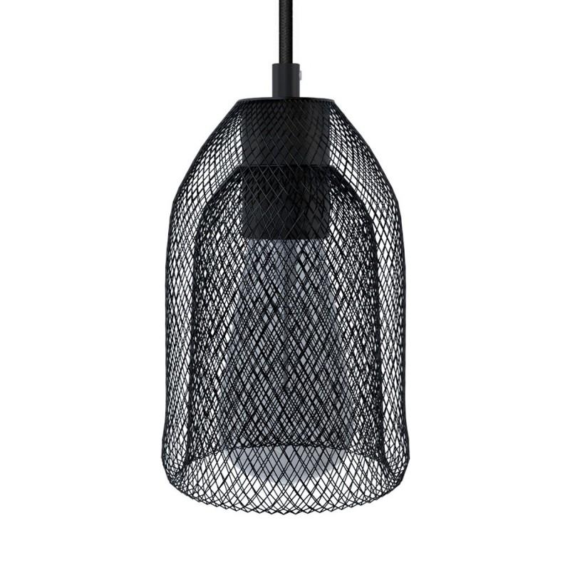 Suspension avec câble textile, abat-jour Ghostbell et finition en métal - Made in Italy