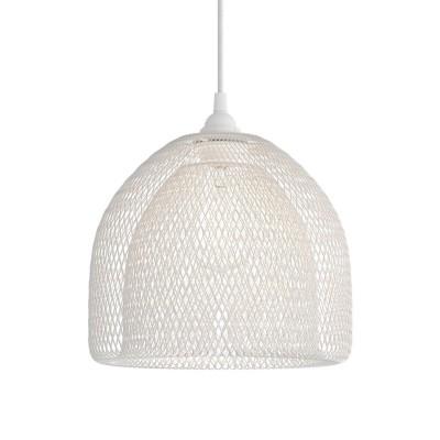 Suspension avec câble textile, abat-jour Ghostbell XL et finition en métal - Made in Italy