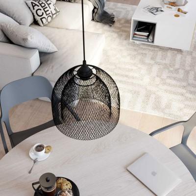 Lampada a sospensione con cavo tessile, paralume gabbia Ghostbell XL e finiture in metallo - Made in Italy