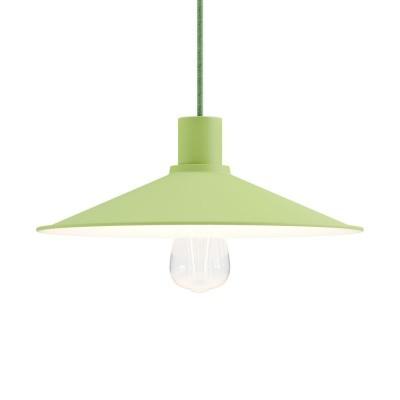 Lampada a sospensione Made in Italy completa di cavo tessile, paralume Swing Pastel e finiture in metallo