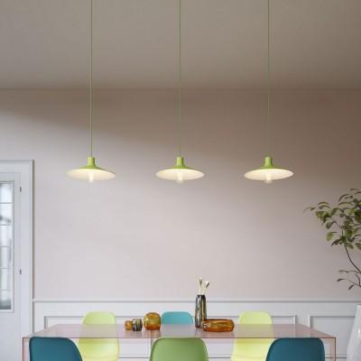 Lampe à suspension Made in Italy avec câble textile, abat-jour Swing Pastel et finitions en métal