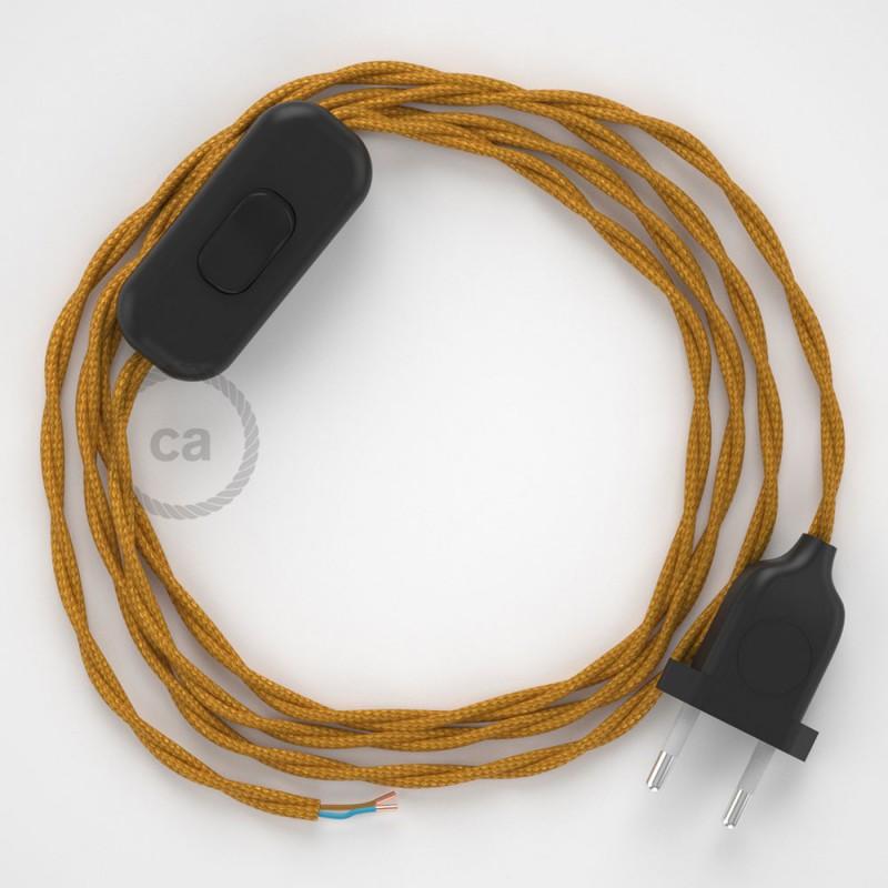 Cablaggio per lampada, cavo TM05 Effetto Seta Oro 1,80 m. Scegli il colore dell'interruttore e della spina.
