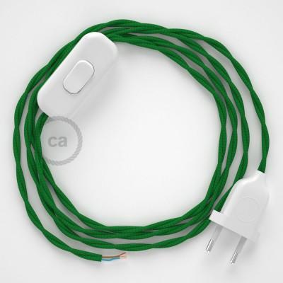 Cablaggio per lampada, cavo TM06 Effetto Seta Verde 1,80 m. Scegli il colore dell'interruttore e della spina.