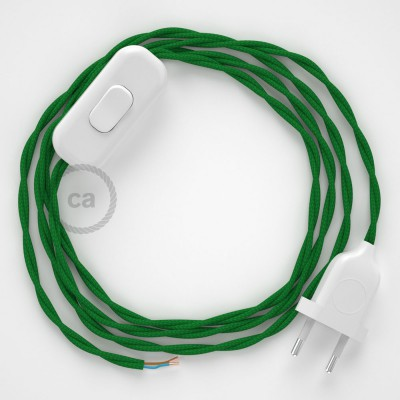 Cordon pour lampe, câble TM06 Effet Soie Vert 1,80 m. Choisissez la couleur de la fiche et de l'interrupteur!