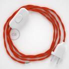 Cordon pour lampe, câble TM15 Effet Soie Orange 1,80 m. Choisissez la couleur de la fiche et de l'interrupteur!