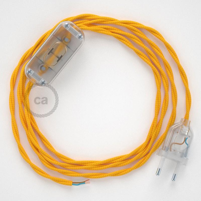 Cablaggio per lampada, cavo TM10 Effetto Seta Giallo 1,80 m. Scegli il colore dell'interruttore e della spina.