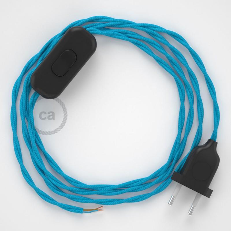 Cordon pour lampe, câble TM11 Effet Soie Turquoise 1,80 m. Choisissez la couleur de la fiche et de l'interrupteur!