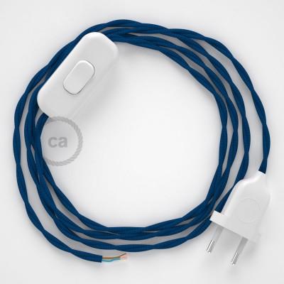 Cablaggio per lampada, cavo TM12 Effetto Seta Blu 1,80 m. Scegli il colore dell'interruttore e della spina.