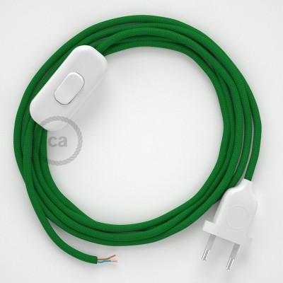 Cordon pour lampe, câble RM06 Effet Soie Vert 1,80 m. Choisissez la couleur de la fiche et de l'interrupteur!