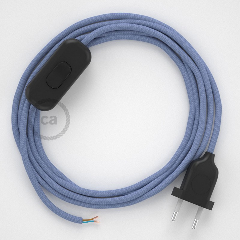 Cablaggio per lampada, cavo RM07 Effetto Seta Lilla 1,80 m. Scegli il colore dell'interruttore e della spina.