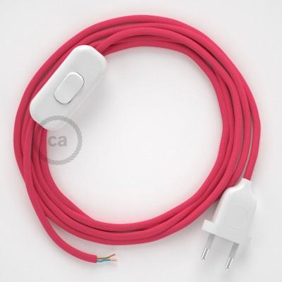 Cordon pour lampe, câble RM08 Effet Soie Fuchsia 1,80 m. Choisissez la couleur de la fiche et de l'interrupteur!