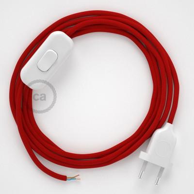 Cablaggio per lampada, cavo RM09 Effetto Seta Rosso 1,80 m. Scegli il colore dell'interruttore e della spina.