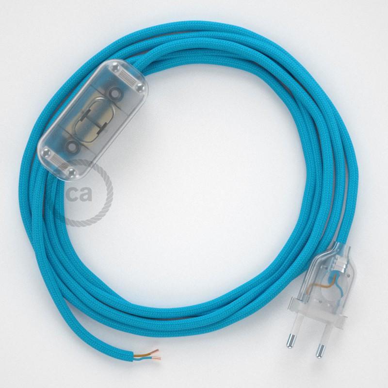 Cablaggio per lampada, cavo RM11 Effetto Seta Azzurro 1,80 m. Scegli il colore dell'interruttore e della spina.