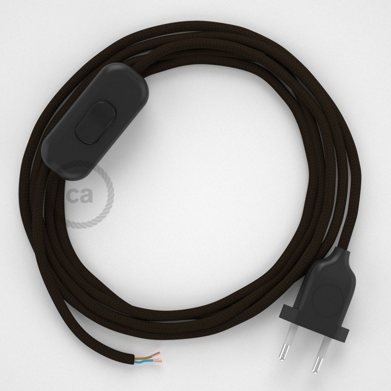 Cablaggio per lampada, cavo RM13 Effetto Seta Marrone 1,80 m. Scegli il colore dell'interruttore e della spina.
